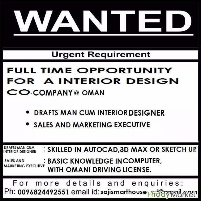 JOB VACANCY FOR MARKETING EXECUTIVE AND DRAFTSMAN In Oman