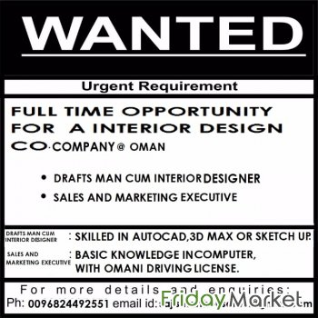 JOB VACANCY FOR MARKETING EXECUTIVE AND DRAFTSMAN Muscat Oman