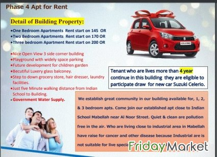 1, 2 & 3 Bedroom Apt With Car Gift Offer For Rent In Mabeelah Muscat Oman