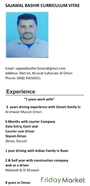 8 Years Experience Looking For A Driver Job Check My CV Muscat Oman